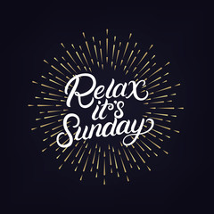 Relax its sunday hand written lettering