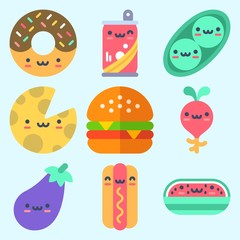 Icons set about Food with watermelon, radish, cheese, hot dog, donut and eggplant