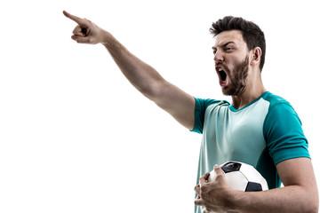 Fan / Sport Player on green uniform celebrating on white background
