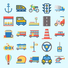 Icons set about Transportation with direction sing, helicopter, van, cone, bus and bike