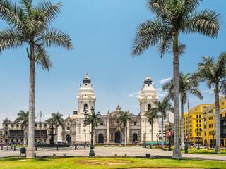 Catedral de Lima and Plaza de Armas, the landmark of  Peru.