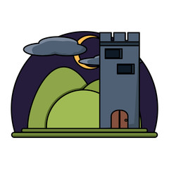 Medieval castle tower icon