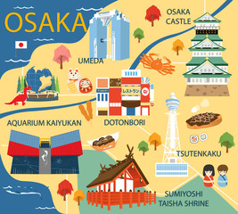 Osaka map with colorful landmarks Japan illustration design