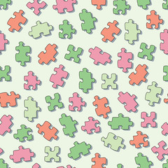 Seamless pattern with puzzles. Square vector illustration.