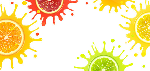 Banner with Citrus Fruits and Splash Juice