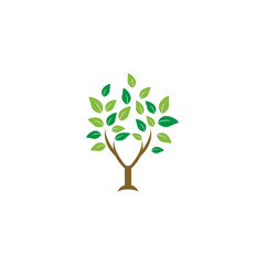 Elegant tree leaf agriculture logo design template vector