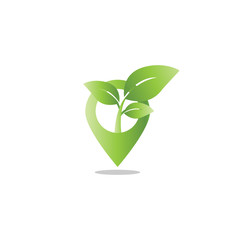 Pin map leaf sprout agriculture logo design template vector