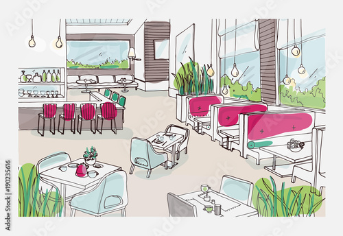 Colored Freehand Sketch Of Furnished Interior Of Fancy