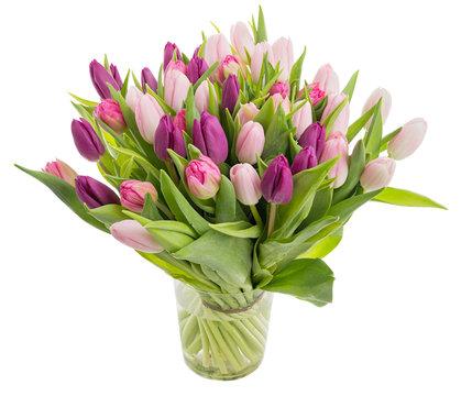 Big bunch of beautiful tulips