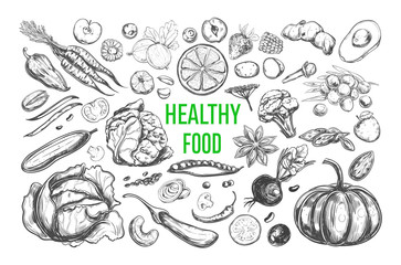 Healthy food. Vegetarian Big Set. Vector hand drawn isolated elements on white. Sketch style