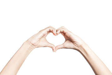 Hands in the form of heart on white background with clipping path.
