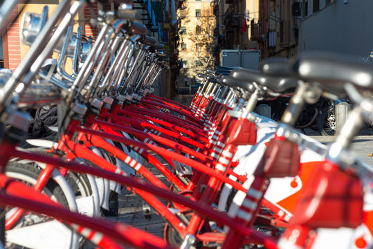 Close up from a Bicing bicycle-sharing station in Barcelona