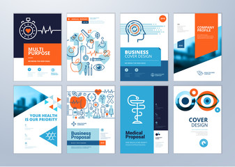 Set of medical brochure, annual report, flyer design templates in A4 size. Vector illustrations for medical, healthcare, pharmacy presentation, document cover and layout template designs. Wall mural
