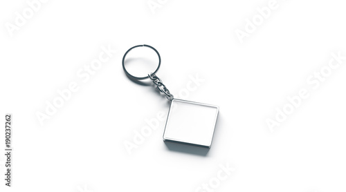 Blank metal rhombus white key chain mock up side view, 3d