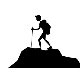 hiker adventure silhouette cartoon design