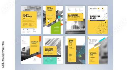 set of business brochure annual report flyer design templates in