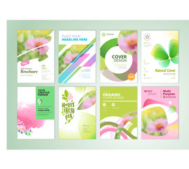 Wall Mural - Set of natural product brochure, annual report, flyer design templates. Vector illustrations for beauty, organic products and cosmetics presentation, document cover and layout template designs.