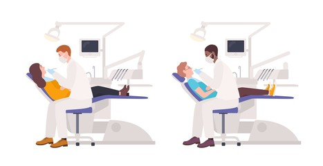 Bundle of dentists examining male and female patients lying in chairs. Set of dental surgeons treating man and woman isolated on white background. Flat cartoon characters. Colored vector illustration.