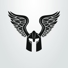 Black and white winged helmet icon