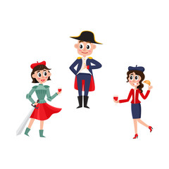vector flat french parisian culture, traditional people set. Woman in red beret, long skirt, striped tshirt drinking wine, holding croissant, another girl in Joan of Arc man in Napoleon costume.
