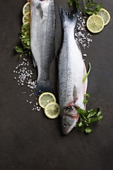 Raw sea fisch with lemon and herbs overhead dark background. Copy space