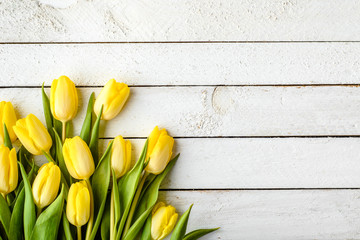 Yellow tulips, spring easter background or anniversary gift for mothers day or card for women's day at 8 march