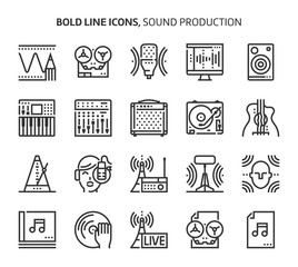 Sound production, bold line icons