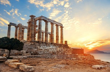 Wall Mural - Temple of Poseidon sunset