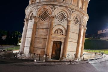 Wall Mural - Leaning tower Pisa closeup at night