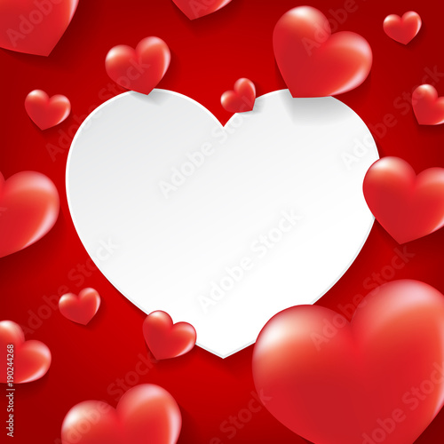 Glossy red hearts with white heart frame. Happy Valentine\'s day ...
