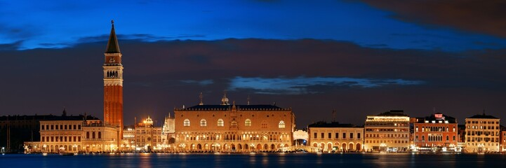 Wall Mural - Venice skyline at night panorama
