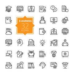 E-learning, online education elements - minimal thin line web icon set. Outline icons collection. Simple vector illustration.