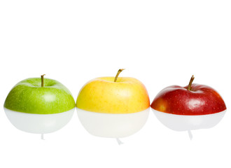 Red green yellow apples concept