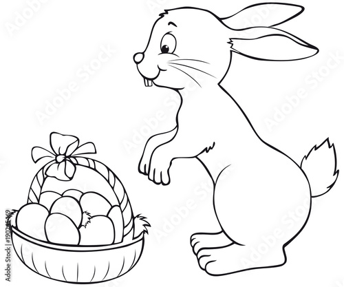 Happy Easter Bunny With Basket Coloring Page