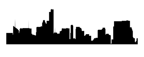 New York cityscape, Manhattan - view from Central Park. Vector  NYC black and white background.
