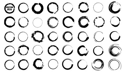 Set of vector black circles. Black spots on white background isolated. Spots for grunge design