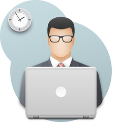 Businessman or office worker in glasses with laptop. Successful young man dressed in gray business suit and red tie working on laptop on wall background with office clock. Vector illustration