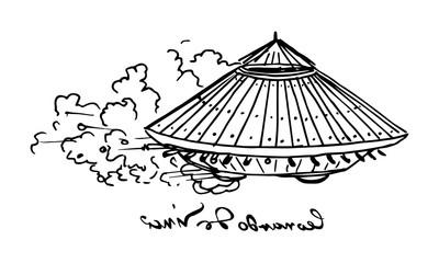 Illustration of Leonardo da Vinci tank sketch
