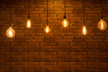old brick wall and old lamps