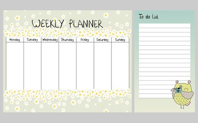 Hand drawing vector weekly planner with owls.