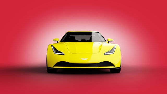 yellow sports car on red background