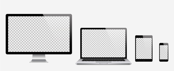 Computer, laptop, tablet, phone set . Vector illustration