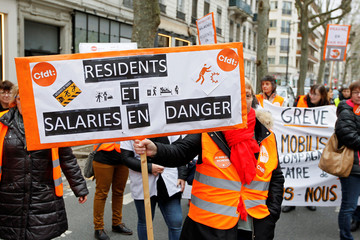Nurses and staff of retirement homes and residential care facilities take part in a nationwide strike and protests, asking for more means to take care of the poorest elders in Lyon