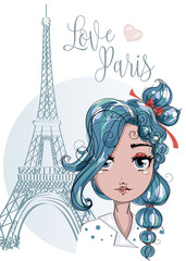 Cute cartoon girl near by the Eiffel Tower in Paris, romantic style fashion teenager portrait, blue hair young woman vector illustration
