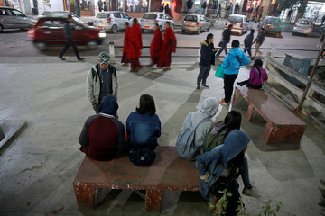 Youths gather in the centre of the capital city of Thimphu, Bhutan