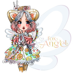 Fox angel cute little girl with wings, fruit dress, little bunny on hat. Beauty fashion woman portrait, cartoon character, hand drawn vector illustration