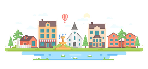 Cityscape with a fountain - modern flat design style vector illustration