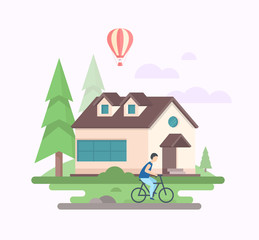 Landscape with a house - modern flat design style vector illustration