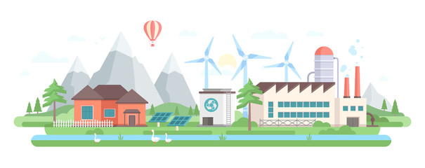 Eco-friendly factory - modern flat design style vector illustration