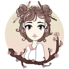 Cute Japanese girl with sakura tree branch, anime cartoon character comics girl portrait, young fashion woman vector illustration